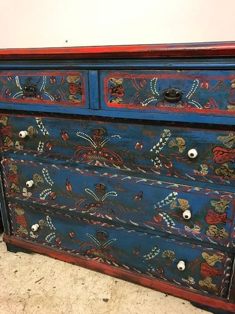 Impressive Painted Antique Chest of Drawers - ha48